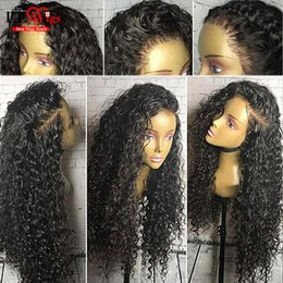 Wholesale Long Black Brazilian Curly Hair - Deep Curly Lace Frontal Wigs For Black Women Brazilian Virgin Hair Wigs Glueless Full Lace Human Hair Curly Wigs With Baby Hair