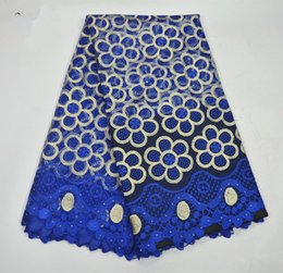 Wholesale Fabric African - African Lace Fabric 2017 Embroidered Nigerian Laces Fabric Bridal High Quality blue color French Tulle Lace Fabric For Women