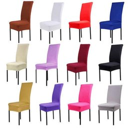 Wholesale Spandex Stretch Chair - Chair Covers Pure Color Elastic Slipcover Chair Seat Slipcover Solid Stretch Banquet Slipcover Decor 14 Colors OOA2316
