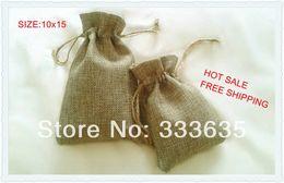 Wholesale Mini Jute Bags Wholesale - Wholesale-wholesale 10x15cm 50pcs Faux jute Hessian Mini Bags wedding bomboniere Gift bags Free Shipping