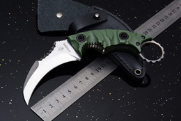Wholesale Edc Case - New Strider Defensive Karambit Survival Straight Knife D2 Blade G10 Handle Outdoor Tactical Camping Hunting Pocket Knife with Leather Case