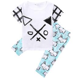 vestiti di cotone biologico per i bambini Sconti XO Organic Cotton Toddler Baby Boys Vestiti Top T-Shirt Frecce Fox Blu chiaro Pantaloni Outfit Set 1-5 T 2 Pz Abbigliamento per bambini Prodotto all'ingrosso