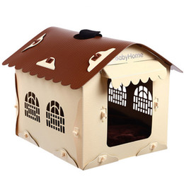 Wholesale Wholesale House Windows - 41*45*38Cm Removable Washable Dog House Winter Pet Supplies Fashion Design Lightweight Plastic Dog Bed Window Kennels For Medium Large Dogs