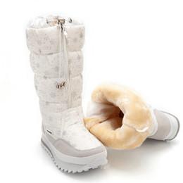 Wholesale Ladies Knee High Nylons - Wholesale- Size 35-41 Fashion Women Boots Plush Warm Snow Boots Ladies Winter Ankle Boots Waterproof Zipper White Colour Snow Flower Botas
