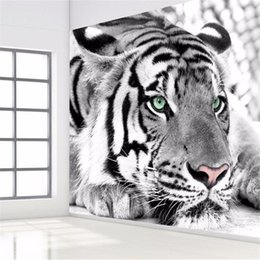 Wholesale Tiger Print Bedroom - photo wallpaper Tiger black and white animal murals entrance bedroom living room sofa TV background wall mural wall paper