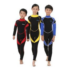 Wholesale Boys Dive - 2.5MM Neoprene one piece diving wetsuit for kids boys surfing wear girls anti UV diving clothings 3 colours