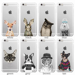 Wholesale Case Iphone 4s Dog - Cute Animals Hand Draw Cat Dog Tiger Bunny Phone Case for iPhone 7 7Plus 6 6S 6Plus 5 5S 4 4S SE 5C