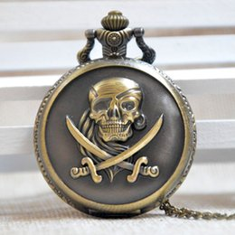 Wholesale Nostalgic Watch - Wholesale-Bronze Quartz Pocket Watch Pirates Of The Caribbean Nostalgic Retro Necklace Chain Gifts Men Women Regarder P229
