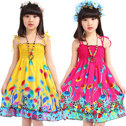 Wholesale Wholesale Knee Braces - Children dress baby girl summer Braces skirt kids clothing Bohemia beach skirt 3-8 years wear more colors printing flower suspender