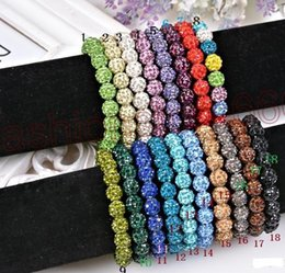 Wholesale Disco Ball Beads Stainless Steel - DHL Free Shipping Bling Neon Shamballa Bracelet Fluorescence Color Beads Disco Ball Stand Stretch Bracelets Handcraft Jewelry