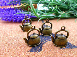 Wholesale Teapot Necklaces - 75pcs 20*17*10mm 3D Kettle Charms Teapot tibetan Bronze DIY Retro Jewelry Bracelet Necklace charms pendant