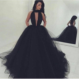 Wholesale Halter Ball Gowns - Sexy Plunging V Neck Black Ball Gown Tulle Prom Dresses 2017 Halter Sexy Backless Evening Dresses With Pockets Long Sweep Train Party Gowns