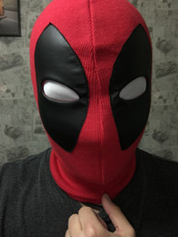 Wholesale Men Cloth Wholesale - X Cosplay Men DP Props Cloth Face Mask Deadpool Mask Halloween Costume Cosplay Party Hood One Size Fit Most (Red)