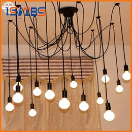 Wholesale 15 Off Led Light - 2017 New Modern led pendant lights DIY Vintage French 2 meter 10 Lights Black Chandelier Hanging Lamp Droplight