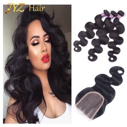 Pacotes de cabelo puruviano on-line-JYZ Peruvian Virgin Hair with Closure 3 Bundles Puruvian Body Wave,JYZ Hair Products Lace Closure with Virgin Human Hair Bundles