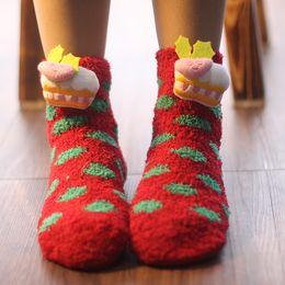 Wholesale Cute Adult Socks - Very Cute Christmas Socks Winter Keep Warm Coral Fleece Socks Children's And Adult Home Thermal Socks