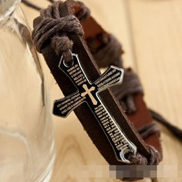 Wholesale Christian Jewelry Charms - Wholesale- Christian Bracelet -2016 Explosion Models Cowhide Leather Cross Christian Bracelet Jewelry