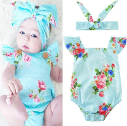 Wholesale Girls Clothes 3years - baby INS flower Rompers Girl Cotton print romper+Big Bows headbands 2pcs INS sets baby clothes 0-3years