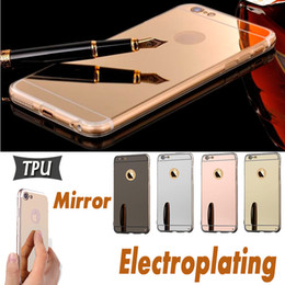 Wholesale Iphone 4s Slim Tpu - Mirror Electroplating Case TPU Shock-Absorption Ultra Slim Bumper Protective Cover For iPhone 8 7 Plus 6 6S SE 5S 5 4S 4 Samsung S8 S7 Edge