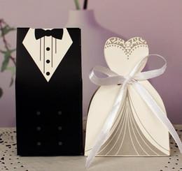Wholesale Tuxedo Bride Boxes - Dress & Tuxedo Bride Groom Wedding Favour Ribbon Candy Bomboniere Box Anniversary Valentine's Day Engagement treats paper boxes