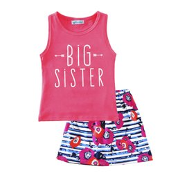 Wholesale tank top flowers - 2017 Big sister two outfits girls cotton Tank Top +geometry flowers skirt 2pcs set baby summer suit