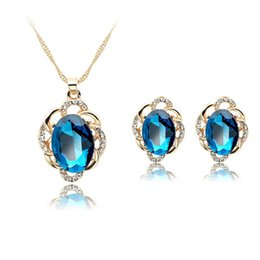 Wholesale Bridesmaid Jewelry Sets Blue - Blue Crystal Flower Pendants Necklace Earrings Jewelry Sets with Gold Chain for Women Wedding Bridesmaid Jewelry Gift