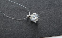 Wholesale Diamond Star Pendant Necklace - The film star with a transparent contact line and selling female diamond necklace chain clavicle zircon crystal pendant bulk sale