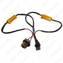 Wholesale Adapter Error - FEELDO 5Pices Lot CAR 7443 LED Decoder Car LED Light Error Canceller Adapter Resistor Cable Canbus Function Wire Warning Flashing Canceler