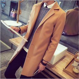Wholesale Designer Winter Down Coats - Wholesale- 2016 new trench coat men winter men's fashion coat Turn-down collar designer long outwear overcoat manteau homme woolen overcoat