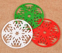 Wholesale Dinner Cups - Fashion Hot Merry Christmas Snowflakes Cup Mat Christmas Decorations Dinner Party Dish Tray Pad for Home Decor