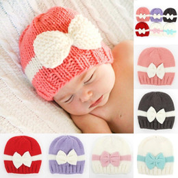Wholesale Knit Hats For Newborn Boys - Knitted Boys Cap Kids Girls Boys Bow knot Knitted Crochet Hat Newborn Winter Warm Cap Winter Hats For Girl
