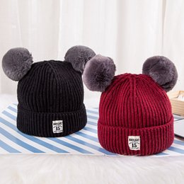 Wholesale Double Ball Wool Cap - 2017 New Autumn And Winter Children Double Ball Hats Set Head Cap Fashion Lovely Keep Warm Hats Tide MOONLIGHT 15 MADE IN CHINA