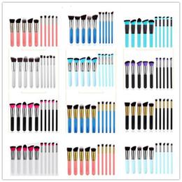Wholesale Top Quality Makeup - 10pcs set Kabuki Makeup Brushes Set Tools Cosmetic Facial Makeup Brush Tools With Nylon Hair Makeup Top Quality 22 styles in stock 100 set