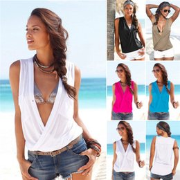 Wholesale Cotton Blend Black Vests - 5 colors Women's summer wear cotton blend tops with double pockets patckwork shirt with sexy deep V neck sleeveless T-shirt vest tops