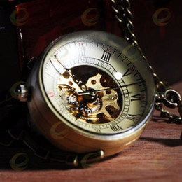 Wholesale Ball Pocket Watch Pendant Necklace - Wholesale-Antique Glass ball Mechanical Pocket Watch Necklace Pendant Watch Xmas Gift