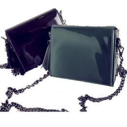 Wholesale Glossy Handbags - Wholesale- Female bag 2017 South Korea Dongdaemun new black patent leather glossy tassel chain small square bag shoulder diagonal handbag