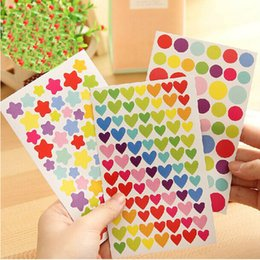 Wholesale Scrapbooking Dots - Wholesale- 6 Pcs Colorful Dot Love Heart Stars Shape Funny Scrapbooking Diary Decorations Escolar Sticky Notes Memo Pad Kawaii Stickers