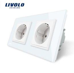 Wholesale Socket Outlet Eu - Livolo EU Standard Wall Power Socket, White Crystal Glass Panel, Manufacturer of 16A Wall Outlet, VL-C7C2EU-11