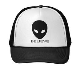Wholesale Aliens Drop Ship - Wholesale- believe alien letters Print Baseball Cap Trucker Hat For Women Men Unisex Mesh Adjustable Size Black White Drop Ship M-63