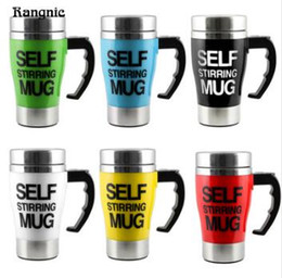 Wholesale Electric Heated Mug - Stainless Steel Automatic Mixing Cup Self Stirring Milk Tea Coffee Mug Electric Stir Drinkware Plastic Heat Drink Tools TOP1817