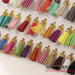 Wholesale Suede Leather Jewelry - 40mm Mix Color Suede Tassel For Keychain Cellphone Straps Jewelry Charms 100pcs Leather Handmade Tassel With Metal Caps Diy Accessories