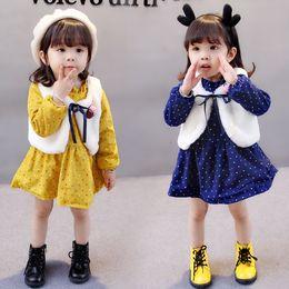 Wholesale Korea Set Girl - Everweekend Girls Dot Ruffles Party Dress with Fur Vest 2pcs Sets Candy Color Autumn Winter Baby Clothing Vintage Korea Clothes