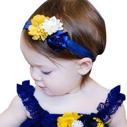 Argentina niños rose diadema de flores bebés malla poligonal combinación del pelo bandas para niñas boutique accesorio para el cabello al por menor Suministro