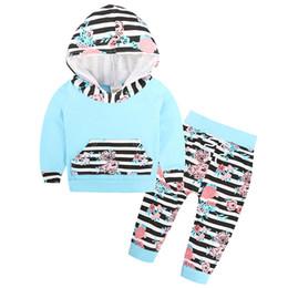 calças bonitos do bebé Desconto Roupas recém-nascidas do bebê meninos meninas roupas bonito flor listrado com capuz Tops + calças 2 pcs outono inverno ternos crianças meninas conjunto de roupas