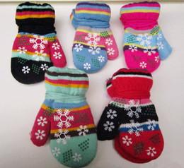 Wholesale Boys Fleece Mittens - Wholesale- 3-8 Years Thicken Warm Fleece Children Winter Warm Gloves Kids Mittens Boys Girls Knitted Gloves Children Full Finger Gloves