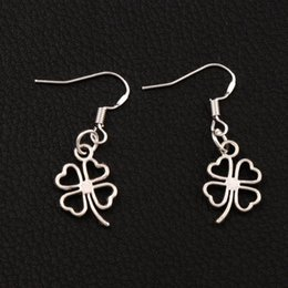 Wholesale open hooks - Open Heart Clover Earrings 925 Silver Fish Ear Hook 40pairs lot Antique Silver Chandelier E368 11.3x34mm