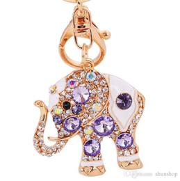 Wholesale Wholesale Elephant Keychains - Crystal Elephant HandBag Pendant Keyring Keychain Purse Bag Buckle For Car key chains holder Fashion Jewelry