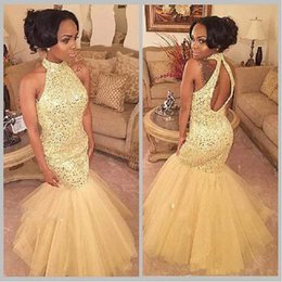 Wholesale Off Sholder - 2017 New Sparkly Gold Prom Dresses With Crystals Off The Sholder High Neck Beading Long Tulle Mermaid Formal Party Gowns robe de soiree