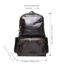 Wholesale Waxed Backpack - Men's leather backpack outdoor travel shoulder bag head layer of oil wax leather Europe and the United States leisure men bag