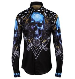 Wholesale Skull Shirt Dress - 2017 New Luxury Brand Floral Men's Print Blue Skull Stylish Shirts Long Sleeve Causal Slim Button Dress Clothes Man Shirt